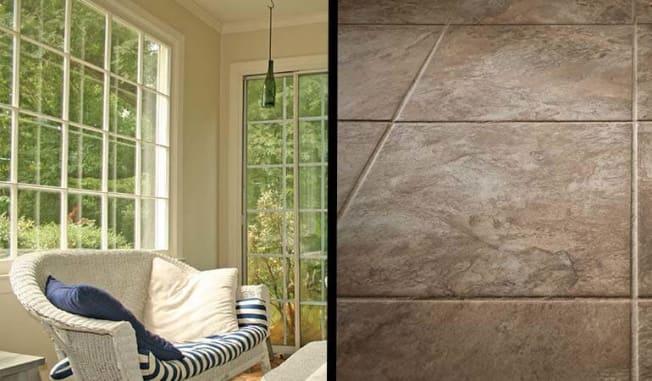 Sunroom and porcelain tile