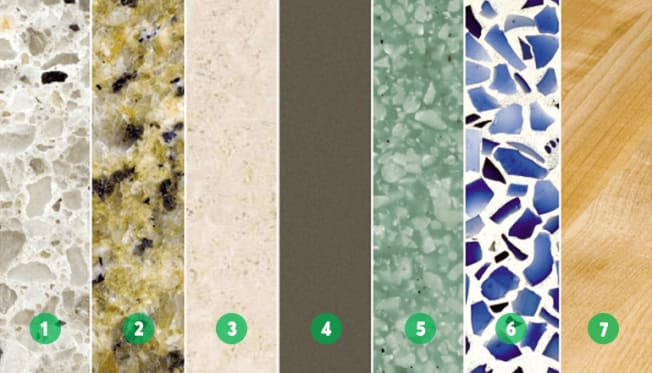 Different types of kitchen countertop materials.