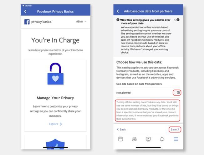 Facebook privacy setting screen grab