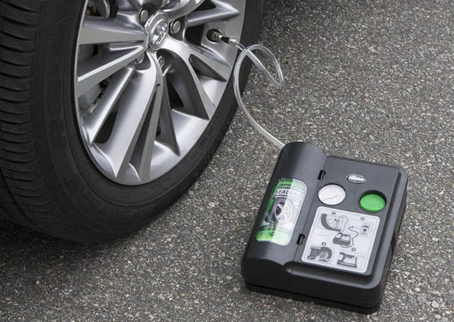 Tire sealant kit in use