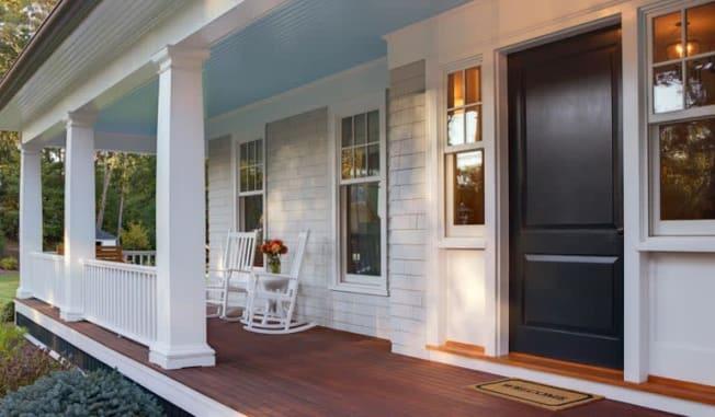 house black door frontporch entryway