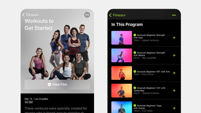 beginner friendliness screens fitness+