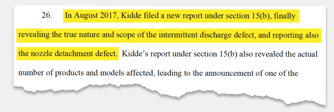 Highlighted section from a lawsuit filed against Kidde regarding the defects of their fire extinguisher.