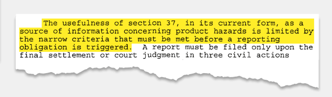 Highlighted section of document from the CPSC regarding the limited abilities of section 37.