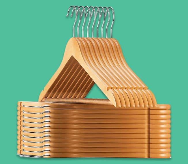 Several wooden hangers.