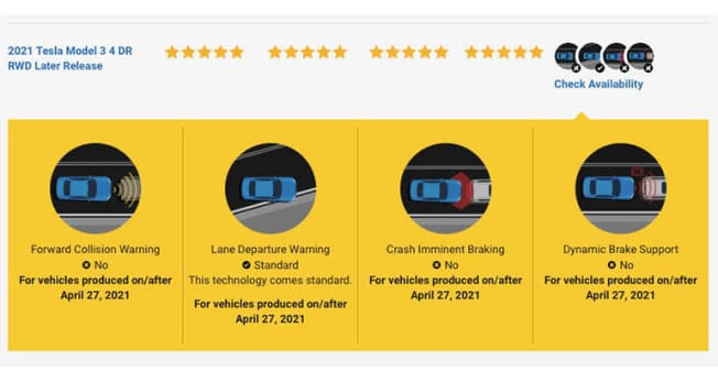 NHTSA Tesla Model 3 ratings