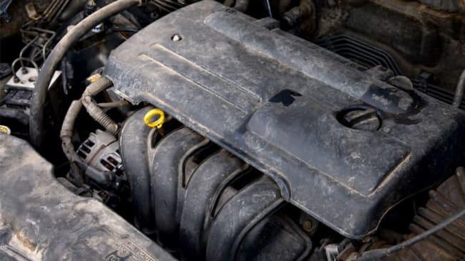 Dirty old car engine