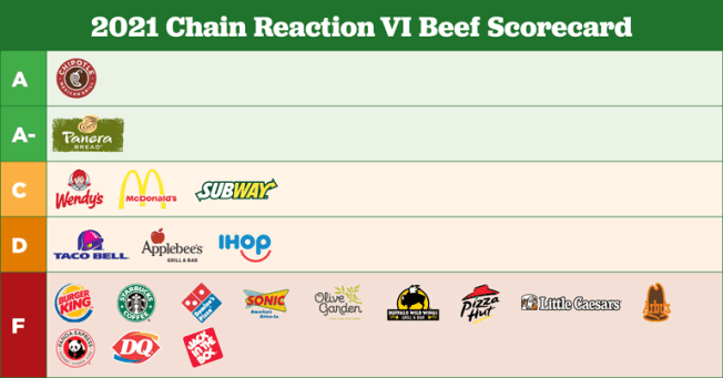 2021 Chain Reaction VI Beef Scorecard