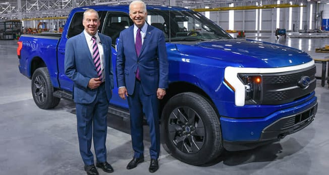 DEARBORN, MI. MAY 18, 2021 -- President Joe Biden and Bill Ford, executive chair, Ford Motor Company, with the all-new, all-electric Ford F-150 Lightning