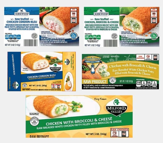 Stuffed chicken recall packages
