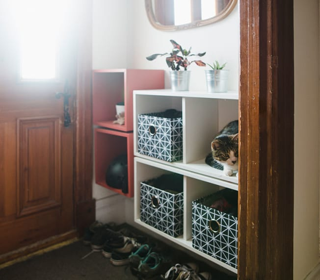 Cube storage in the entryway of a home