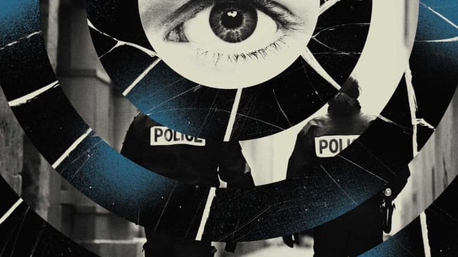 Collage with a large eye seen from the view of a Ring doorbell with police walking away.