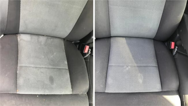 before and after of carseat being cleaned with upholstery cleaner