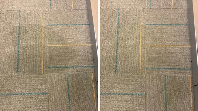 before and after of carpet being cleaned with upholstery cleaner