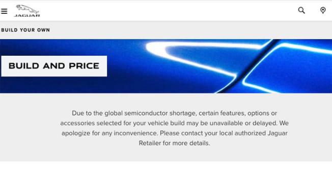 Jaguar website message
