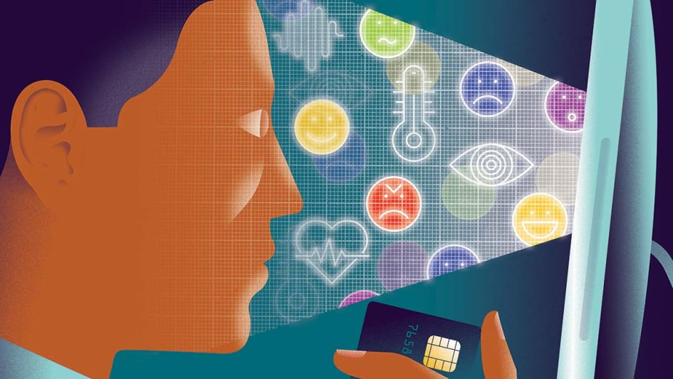 Illustration of a person looking at a computer screen while holding a credit card. The computer is analyzing the person's face for emotions.