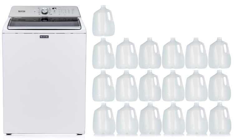 How much water should a washing machine use (agitator washer)