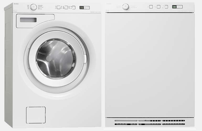Asko compact washer and dryer set.