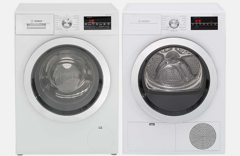 Bosch compact washer and dryer set.