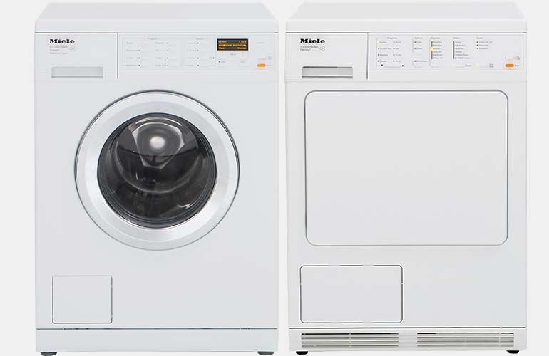 Miele compact washer and dryer set.