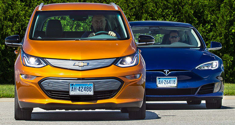 Chevrolet Bolt and Tesla Model S