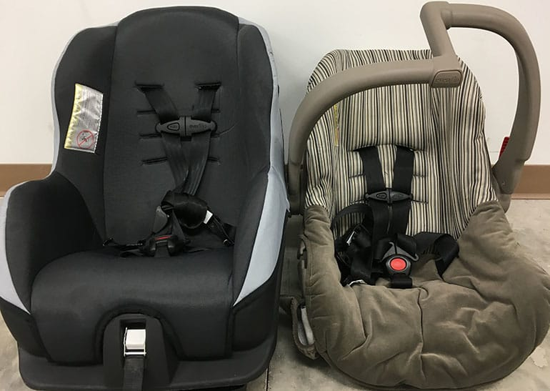 Car seats recently seen at a car rental agency.