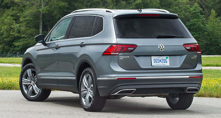 Rear three-quarters view of 2018 Volkswagen Tiguan.
