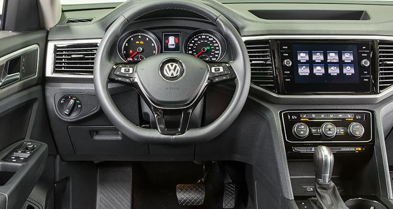 Interior of 2018 Volkswagen Atlas three-row SUV.