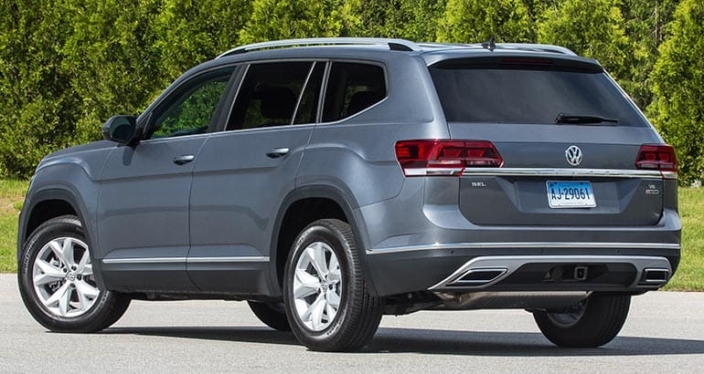 Rear of 2018 Volkswagen Atlas three-row SUV.