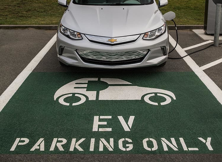 Chevrolet Volt parked for charging