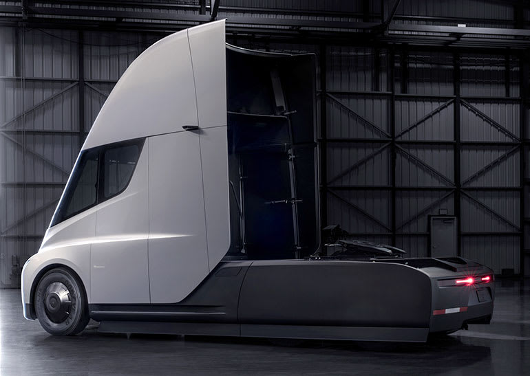 Tesla Semi truck, rear