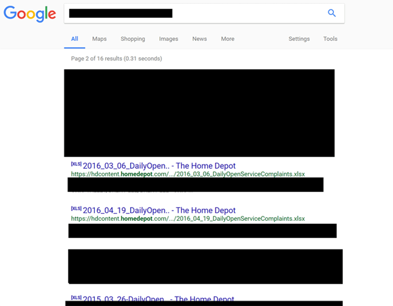 Redacted Google search shows file in search results.