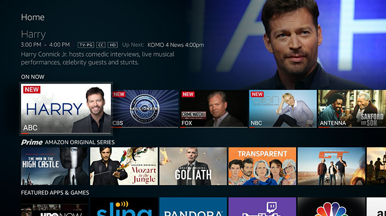 Photo of the Amazon Fire TV Edition menu system.