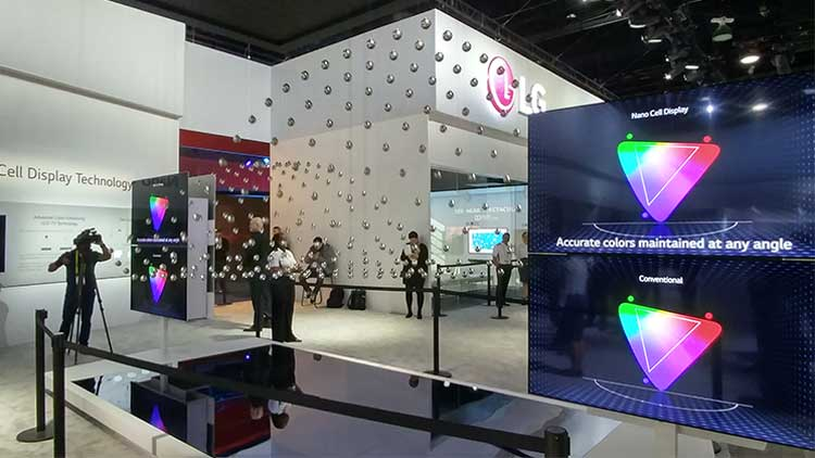 Photo of LG';s Nono Cell TV dsiplay at CES 2017