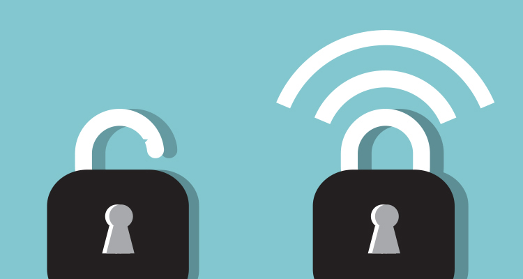 Illustration of open and closed padlocks to represent digital security and privacy