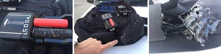 The problem of batteries on planes is highlighted by this battery charger, which caught fire on a domestic flight.