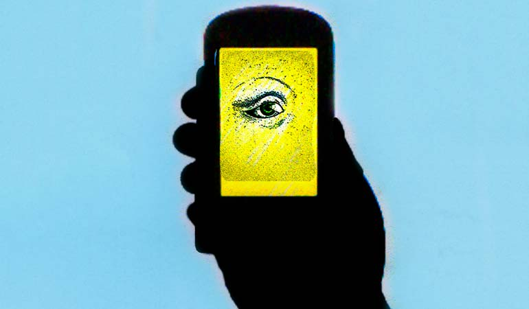 An illustration of an eye on a smartphone to symbolize facial recognition