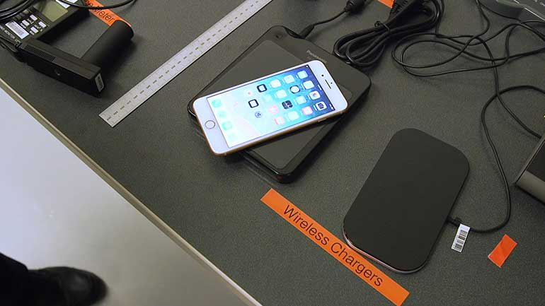 iPhone wireless charger testing.