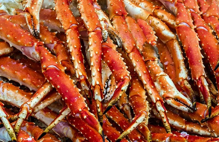 A photo of crab legs; store them right to make sure you're serving safe seafood.