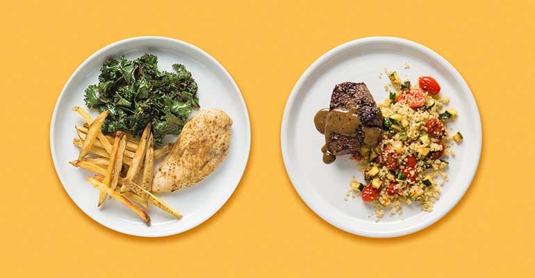 Cumin Chicken With Kale and Baked Fries on the left and Steak With Tomato-Zucchini-Quinoa Salad on the right