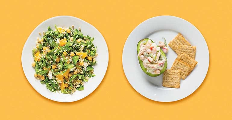Arugula, Orange, and Chickpea Salad on the left and Avocado Boat Tuna Salad on the right