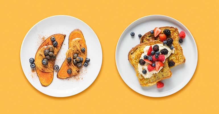 Nutty Blueberry Sweet Potato Toast on the left and Vanilla-Orange French Toast With Honeyed Ricotta on the right
