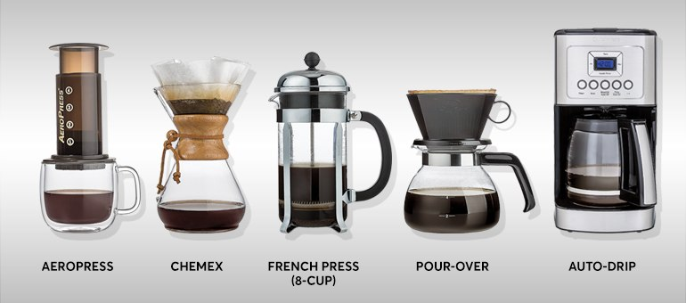 5 different coffee brewers