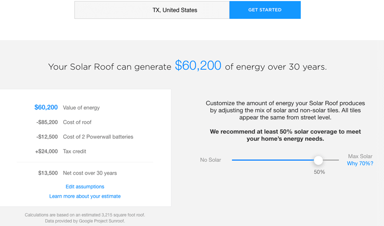 Tesla's Solar Roof estimate for our Texas house