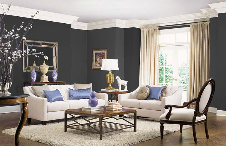 Exceptional A Room Painted In Olympic Black Magic OL116 Interior Paint Great Ideas