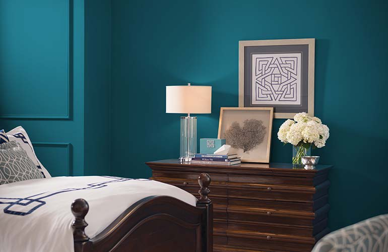 A room painted in Sherwin-Williams Oceanside SW6496 interior paint