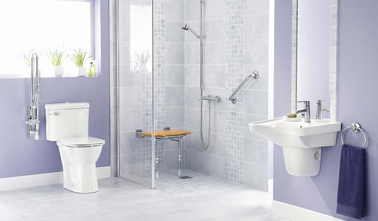 bathroom for elderly. A Modern Bathroom Featuring Curbless Shower, Which Helps Make The Home Elder-friendly For Elderly G