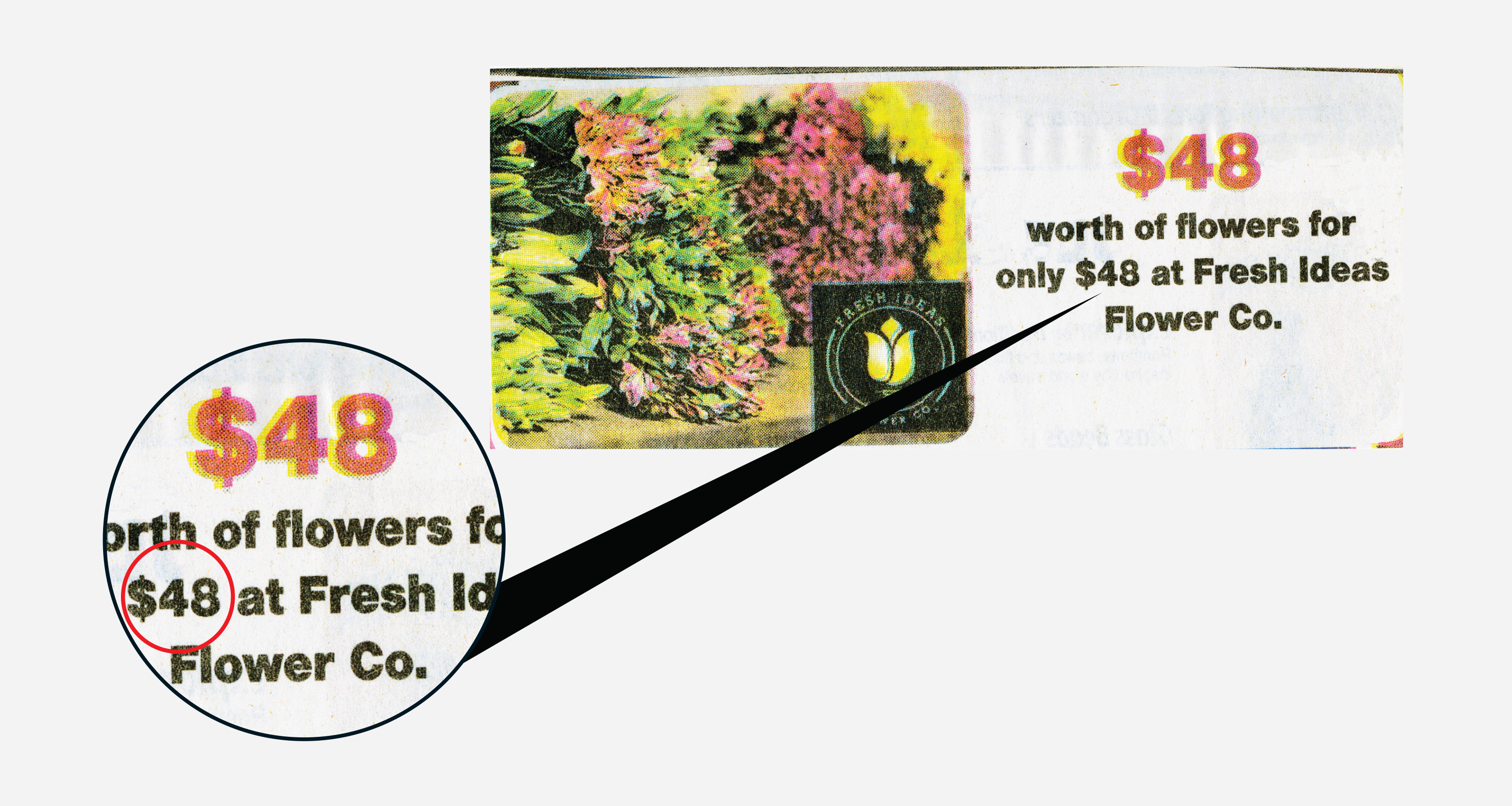 A photo of a florist's advertisement that offers 48 dollars of floral arrangements for 48 dollars.