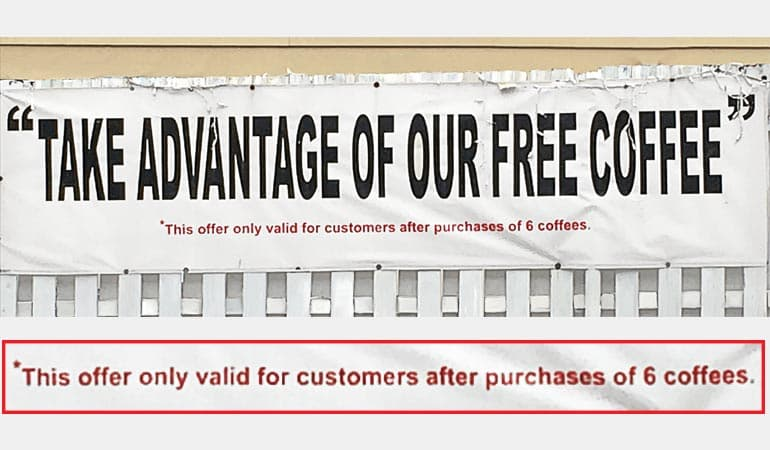A photo of the dubious coffee offer.