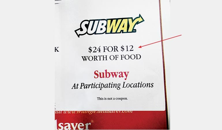 Subway's dubious offer.